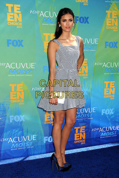 Nina Dobrev.2011 Teen Choice Awards - Arrivals held at Gibson Amphitheatre, Universal City, California, USA..August 7th, 2011.full length black dress white check gingham hand on hip.CAP/ADM/BP .©Byron Purvis/AdMedia/Capital Pictures.