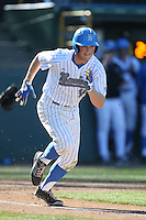 Kort Peterson (18) of the UCLA Bruins bats during a game against the Hofstra Pride at Jackie Robinson Stadium on March 14, 2015 in Los Angeles, California. UCLA defeated Hofstra, 18-1. (Larry Goren/Four Seam Images)