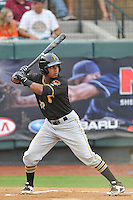 Left fielder Victor Fernandez (27) of the Bristol Pirates bats in a game against the Pulaski Yankees on Tuesday, July 5, 2016, at Calfee Park in Pulaski, Virginia. Pulaski won, 6-3. (Tom Priddy/Four Seam Images)