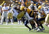 September 4, 2010:  Mychal Kendricks of California slams Derrick Coleman of UCLA for a loss during a game at Memorial Stadium in Berkeley, California.   California defeated UCLA 35-7