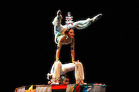 Members of Chinese National Acrobatic Tour perform exhibition on August 10, 2006 at Marin, Spain.<br />
