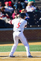 Ian Happ (5) of the Cincinnati Bearcats at bat against the Radford Highlanders at Wake Forest Baseball Park on February 22, 2014 in Winston-Salem, North Carolina.  The Highlanders defeated the Bearcats 6-5.  (Brian Westerholt/Four Seam Images)