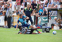 Nick Freeman of Wycombe Wanderers is tackled by Rene Steer of Maidenhead United during the Friendly match between Maidenhead United and Wycombe Wanderers at York Road, Maidenhead, England on 30 July 2016. Photo by Alan  Stanford PRiME Media Images.