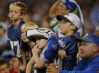 NFL Preseason - Seattle Seahawks vs Denver Broncos. Seahawk fans young and old watch their team play the Denver Broncos on Saturday August 21, 2004 at Qwest Field in Seattle, WA. The Denver Broncos went on to defeat the Seattle Seahawks 19-3.