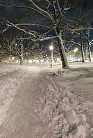 AVAILABLE FROM JEFF AS A FINE ART PRINT.<br /> <br /> AVAILABLE FROM GETTY IMAGES FOR COMMERCIAL AND EDITORIAL LICENSING.   Please go to www.gettyimages.com and search for image # 135307799.<br /> <br /> Winter Scene - Prospect Park in the Snow at Night, Park Slope, Brooklyn, New York City,  New York State, USA