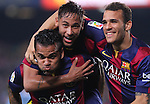 18.10.2014 Barcelona, Spain.La Liga day 8. Picture show Neymar Jr. and Dani Alves in action during game between FC Barcelona against Eibar at Camp Nou