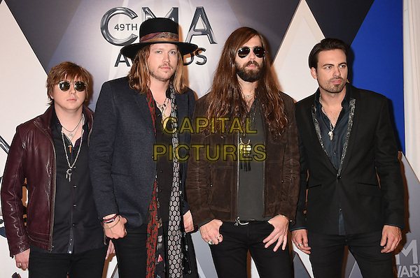 4 November 2015 - Nashville, Tennessee - Zach Brown, Graham Deloach, Michael Hobby, Bill Satcher, A Thousand Horses. 49th CMA Awards, Country Music's Biggest Night, held at Bridgestone Arena. <br /> CAP/ADM/LF<br /> &copy;LF/ADM/Capital Pictures