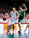 S&ouml;dert&auml;lje 2014-04-15 Basket SM-Semifinal 5 S&ouml;dert&auml;lje Kings - Uppsala Basket :  <br /> Uppsalas Axel Nordstr&ouml;m i kamp om bollen med S&ouml;dert&auml;lje Kings Toni Bizaca <br /> (Foto: Kenta J&ouml;nsson) Nyckelord:  S&ouml;dert&auml;lje Kings SBBK Uppsala Basket SM Semifinal Semi T&auml;ljehallen