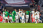 06.10.2018, Allianz Arena, Muenchen, GER, 1.FBL,  FC Bayern Muenchen vs. Borussia Moenchengladbach, DFL regulations prohibit any use of photographs as image sequences and/or quasi-video, im Bild Die Borussen feiern den Sieg<br /> <br />  Foto &copy; nordphoto / Straubmeier