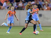 Casey Short (6) of the Chicago Red Stars brings the ball up the field in the first half against the Houston Dash on Saturday, April 16, 2016 at BBVA Compass Stadium in Houston Texas.