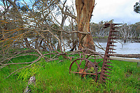 Derelict farm equipment near Duck Lagoon on Kangaroo Island, South Australia, Australia.