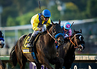 ARCADIA, CA - SEPTEMBER 30:  Drayden Van Dyke celebrates as he wins the Awesome Again Stakes aboard Mubtaahij #6 at Santa Anita Park on September 30, 2017 in Arcadia, California. (Photo by Alex Evers/Eclipse Sportswire/Getty Images)