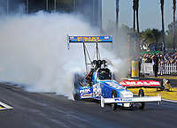 Mar. 16, 2013; Gainesville, FL, USA; NHRA top fuel dragster driver T.J. Zizzo during qualifying for the Gatornationals at Auto-Plus Raceway at Gainesville. Mandatory Credit: Mark J. Rebilas-