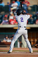 Grand Junction Rockies Julio Carreras (2) at bat during a Pioneer League game against the Grand Junction Rockies at Dehler Park on August 15, 2019 in Billings, Montana. Billings defeated Grand Junction 11-2. (Zachary Lucy/Four Seam Images)