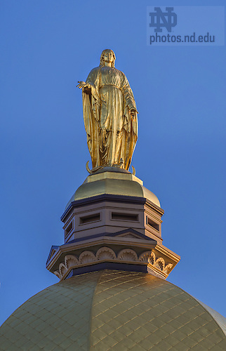Apr. 22, 2014; Mary Statue atop the Golden Dome on the Main Building.<br /> <br /> Photo by Matt Cashore/University of Notre Dame