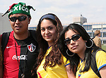09 June 2006: A Mexico fan (left) with two Ecuador fans before the game. Germany played Costa Rica at the Allianz Arena in Munich, Germany in the opening match, a Group A first round game, of the 2006 FIFA World Cup.