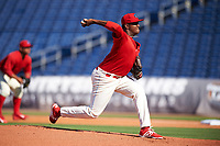 Clearwater Threshers starting pitcher Jose Taveras (45) delivers a pitch during the first game of a doubleheader against the Palm Beach Cardinals on April 13, 2017 at Spectrum Field in Clearwater, Florida.  Clearwater defeated Palm Beach 1-0.  (Mike Janes/Four Seam Images)
