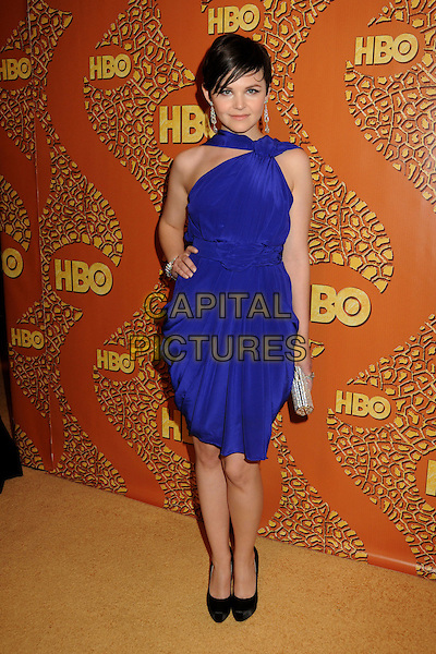 GINNIFER GOODWIN.HBO's 2010 67th Golden Globe Awards Post Party held at the Beverly Hilton Hotel, Beverly Hills, California, USA..January 17th, 2009.globes full length purple blue dress hand on hip silver clutch bag black shoes.CAP/ADM/BP.©Byron Purvis/Admedia/Capital Pictures