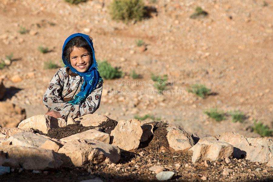 Todra Gorge, Morocco.  Amazigh Berber Girl, Nine Years Old.