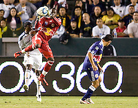 Goalkeeper Bouna Coundoul of the New York Red Bulls leaps high for the ball. The New York Red Bulls beat the LA Galaxy 2-0 at Home Depot Center stadium in Carson, California on Friday September 24, 2010.