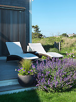 A pair of contemporary sun loungers on the raised decking overlooking the garden is bathed in afternoon sunshine