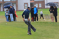 Guido Migliozzi (ITA) jumps into his wets on the 7th during Round 2 of the Aberdeen Standard Investments Scottish Open 2019 at The Renaissance Club, North Berwick, Scotland on Friday 12th July 2019.<br /> Picture:  Thos Caffrey / Golffile<br /> <br /> All photos usage must carry mandatory copyright credit (© Golffile | Thos Caffrey)