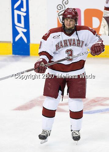 Alex Biega (Harvard - 3) - The Northeastern University Huskies defeated the Harvard University Crimson 3-1 in the Beanpot consolation game on Monday, February 12, 2007, at TD Banknorth Garden in Boston, Massachusetts.