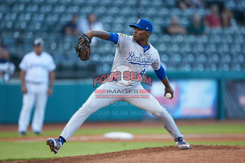 Burlington Royals relief pitcher Marlin Willis (44) in action against the Pulaski Yankees at Calfee Park on September 1, 2019 in Pulaski, Virginia. The Royals defeated the Yankees 5-4 in 17 innings. (Brian Westerholt/Four Seam Images)
