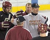 Anthony Aiello, (Jerry York), Jim Logue, Greg Brown - Boston College's morning skate on Friday, December 30, 2005 at Magness Arena in Denver, Colorado.  Boston College defeated Ferris State that afternoon in a shootout and defeated Princeton the following night to win the Denver Cup.