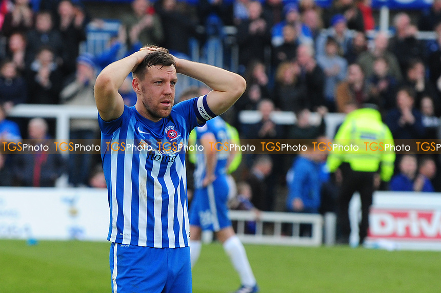 An emotional Carl Magnay of Hartlepool United at the final whistle after Hartlepool United are relegated during Hartlepool United vs Doncaster Rovers, Sky Bet EFL League 2 Football at Victoria Park on 6th May 2017