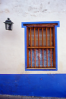 Window of a colourful Spanish colonial style house in Caracas, Venezuela