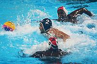BARRANQUILLA - COLOMBIA, 26-07-2018: THOMAS Kris N. - FELICIAN Gregorio A (Trinidad y Tobago) y GUERRA Albert M. (Cuba) durante su participación en la polo acuático masculino como parte de los Juegos Centroamericanos y del Caribe Barranquilla 2018. /  THOMAS Kris N. - FELICIAN Gregorio A (Trinidad y Tobago) y GUERRA Albert M. (Cuba)  during his participation in men's waterpolo of the Central American and Caribbean Sports Games Barranquilla 2018. Photo: VizzorImage / Alfonso Cervantes / Cont