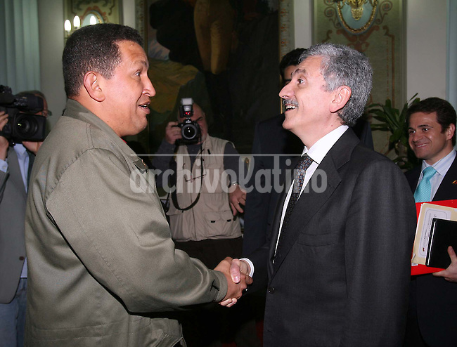 President of Venezuela Hugo Chavez during his meeting with Italy Foreign Minister, Massimo D'Alema at Miraflores Palace in Caracas.