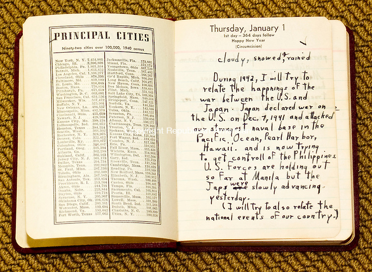 LITCHFEILD CT.-09 NOVEMBER 2010 110910DA06-  A diary of Lloyd Wellnitz of Litchfield that he wrote in as a boy dating back to 1942 which he describes the times of World War II.<br /> Darlene Douty Republican-American