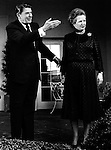 U.S. President Ronald Reagan and Margaret Thatcher Prime Minister of the United Kingdom and leader of the Conservative Party,