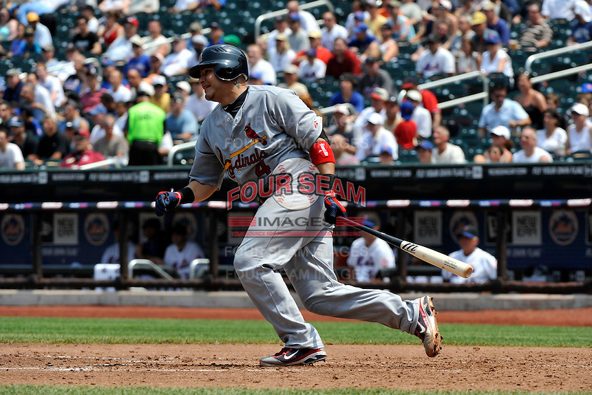 St. Louis Cardinals catcher Yadier Molina #4 during a game against the New York Mets at Citi Field on July 21, 2011 in Queens, NY.  Cardinals defeated Mets 6-2.  Tomasso DeRosa/Four Seam Images