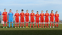 20150307 - TUBIZE , BELGIUM : Belgian team pictured with Bieke Vandenbussche (4) , Ines Fernandez Gonzales (1) , Magali Dinon (2) , Isabelle Iliano (8) , Amber Maximus (9) , Charlotte Van Ishoven (10) , Lola Wajnblum (11) , Inne De Smet (13) , Valentine Hannecart (15) , Tabitha Lingier (16) and Elien Nelissen (20)  during the friendly female soccer match between Women under 19 teams of  Belgium and Czech Republic . Saturday 7th March 2015 . PHOTO DAVID CATRY