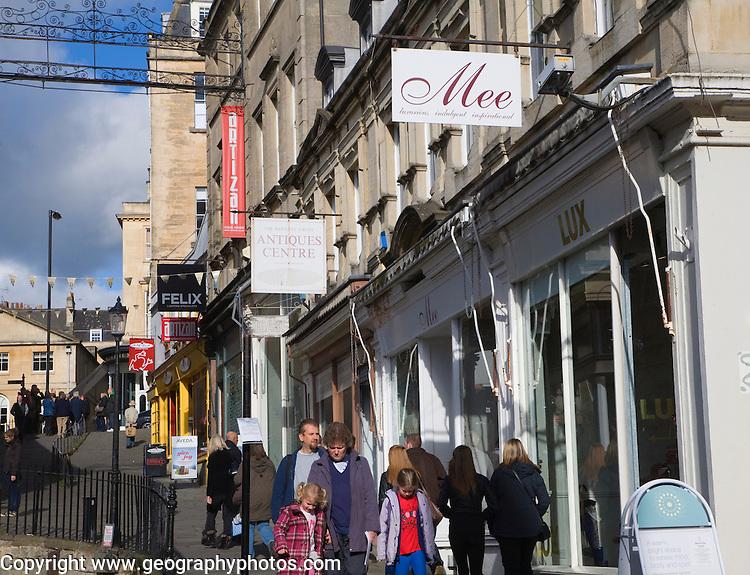 Specialist shops people shopping Bartlett Street, Bath, Somerset, England