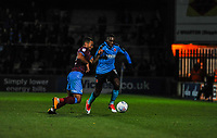 Fleetwood Town's defender Amari'i Bell (3) skips by Scunthorpe Utd's defender Jordan Clarke (2) during the Sky Bet League 1 match between Scunthorpe United and Fleetwood Town at Glanford Park, Scunthorpe, England on 17 October 2017. Photo by Stephen Buckley/PRiME Media Images