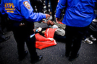 Occupy Wall Street members are detained by NYPD officers during a  march against police brutality in New York, United States. 24/03/2012.  Photo by Eduardo Munoz Alvarez / VIEWpress.