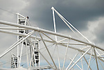 Dramatic close-up of the 2012 Olympic Stadium, Stratford, London, England