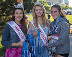 Miss Sparks Outstanding Teen Hana Altenburg, Miss Hidden Valley Outstanding Teen Aspen Larson and Alexis Melendrez during the Reno 10 Mile Run in downtown Reno on Sunday, August 13, 2017.