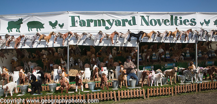 Farmyard novelties animal toys display at Mid and West Suffolk show, Stonham Barns, Suffolk, England