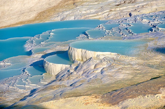 Photo & Image  of Pamukkale Travetine Terrace, Turkey. Images of the white Calcium carbonate rock formations. Buy as stock photos or as photo art prints. 2 Pamukkale travetine terrace water cascades, composed of white Calcium carbonate rock formations, Pamukkale, Anatolia, Turkey