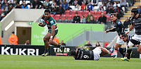 Leicester Tigers' Manu Tuilagi breaks away from Newcastle Falcons' Sonatane Takulua to score his sides fourth try <br /> <br /> Photographer Stephen White/CameraSport<br /> <br /> Gallagher Premiership Round 2 - Leicester Tigers v Newcastle Falcons - Saturday September 8th 2018 - Welford Road - Leicester<br /> <br /> World Copyright &copy; 2018 CameraSport. All rights reserved. 43 Linden Ave. Countesthorpe. Leicester. England. LE8 5PG - Tel: +44 (0) 116 277 4147 - admin@camerasport.com - www.camerasport.com