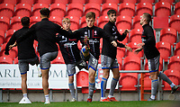 Lincoln City's Ben Sault, centre, during the pre-match warm-up<br /> <br /> Photographer Chris Vaughan/CameraSport<br /> <br /> EFL Leasing.com Trophy - Northern Section - Group H - Doncaster Rovers v Lincoln City - Tuesday 3rd September 2019 - Keepmoat Stadium - Doncaster<br />  <br /> World Copyright © 2018 CameraSport. All rights reserved. 43 Linden Ave. Countesthorpe. Leicester. England. LE8 5PG - Tel: +44 (0) 116 277 4147 - admin@camerasport.com - www.camerasport.com