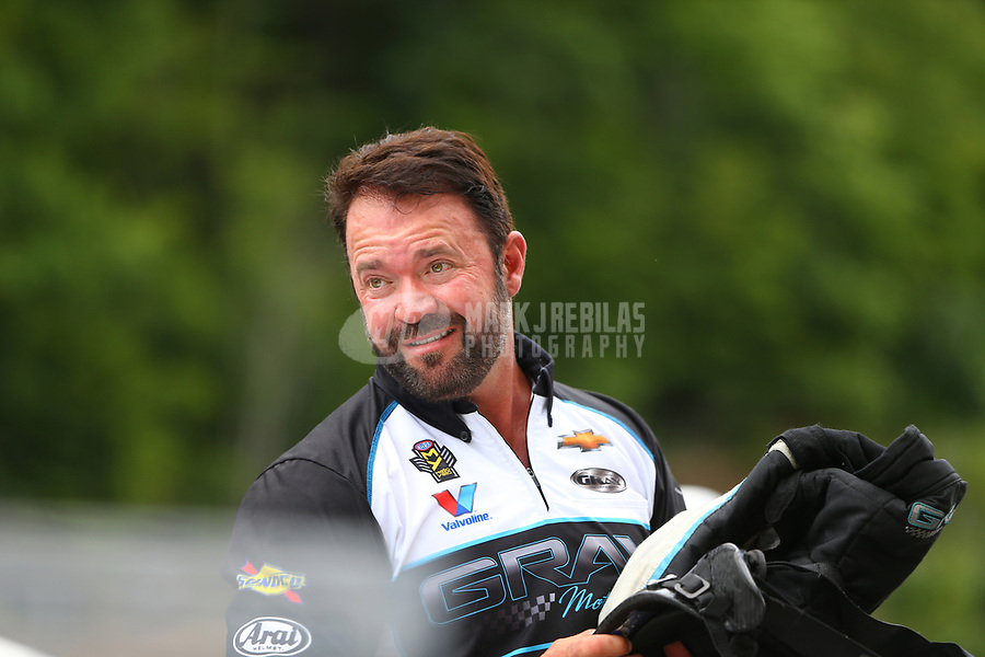 Jun 17, 2017; Bristol, TN, USA; NHRA pro stock driver Shane Gray during qualifying for the Thunder Valley Nationals at Bristol Dragway. Mandatory Credit: Mark J. Rebilas-USA TODAY Sports