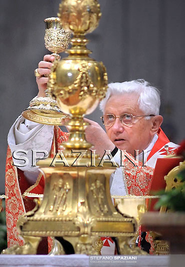 Pope Benedict XVI celebrates the Pentecost Mass in St. Peter's Basilica at the Vatican on May 23, 2010.