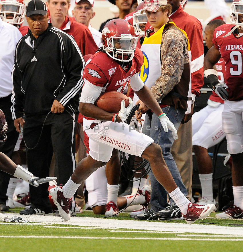 Arkansas Razorbacks Cobi Hamilton (11) in action during a game against Alabama on September 25, 2010 at Razorback Stadium in Fayetteville, AR. Alabama beat Arkansas 24-20.