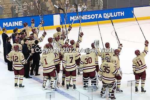 The Eagles salute the fans. - The Boston College Eagles defeated the University of Minnesota Duluth Bulldogs 4-0 to win the NCAA Northeast Regional on Sunday, March 25, 2012, at the DCU Center in Worcester, Massachusetts.